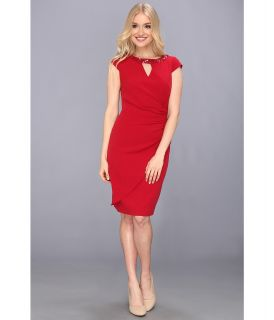 Adrianna Papell Release Pleat Draped Dress Womens Dress (Red)