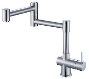Alfi Brand AB2038BSS Kitchen Faucet, Retractable Single Hole Solid Brushed Stainless Steel
