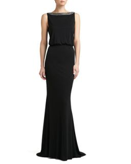 Womens Matte Jersey Beaded Bateau Neck Gown   St. John Collection