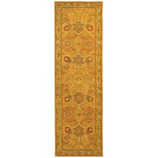 Safavieh Antiquities Dark Gold/Green Rug AT20A Rug Size Runner 23 x 8