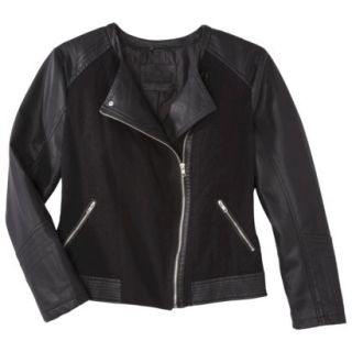 Pure Energy Womens Plus Size Faux Leather Motorcycle Jacket   Black 1X