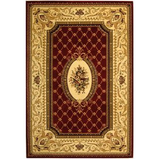 Lyndhurst Collection Traditional Red/ Ivory Rug (33 X 53)