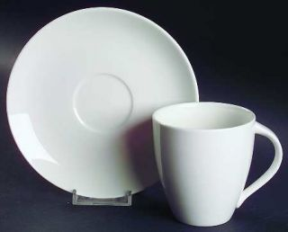 Christopher Stuart Cafe White Flat Cup & Saucer Set, Fine China Dinnerware   All