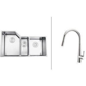 Ruvati RVC2582 Combo Stainless Steel Kitchen Sink and Chrome Faucet Set