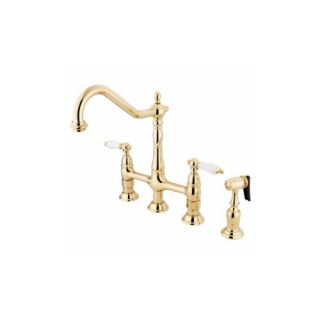 Elements of Design ES1272PLBS New Orleans Two Handle Kitchen Faucet With Spray