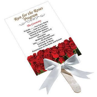 Red Rose Personalized Program Fans