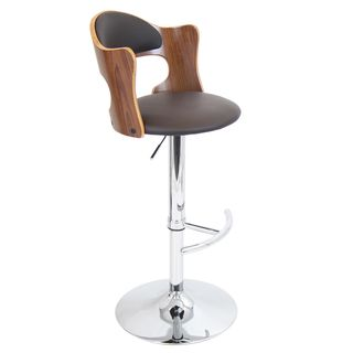 Cello Adjustable Bent Wood Scooped Barstool (Walnut wood, brown seat Materials Wood, PU, foam padding, chromeHardware finish Chrome footrest, base and poleNumber of Stools One (1)Seat Height 27 to 31.5 inches (adjustable)Seat Width 16.5 inches wideSe