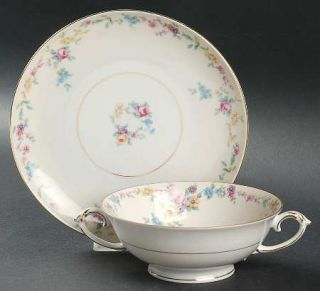Baronet Barbara (Gold Trim) Footed Cream Soup Bowl & Saucer Set, Fine China Dinn