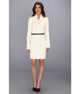 Calvin Klein L/S Cable Knit Cowl Neck Sweater Dress Womens Dress (White)