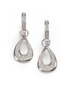 Pave Diamond & 14K White Gold Teardrop Convertible Earrings   White G