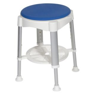 Drive Medical White/Blue Bath Stool with Rotating Seat   Standard