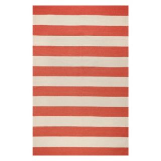 Rugby Stripe Flat Weave Area Rug   Red (8x11)