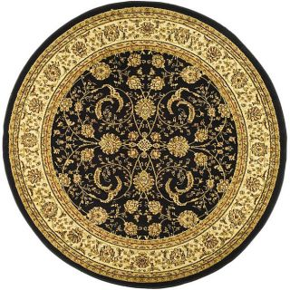 Lyndhurst Collection Black/ Ivory Rug (8 Round)