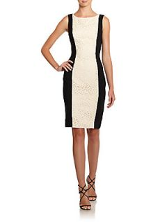 Lace Panel Colorblock Sheath Dress   Ivory Black