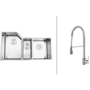 Ruvati RVC2586 Combo Stainless Steel Kitchen Sink and Chrome Faucet Set