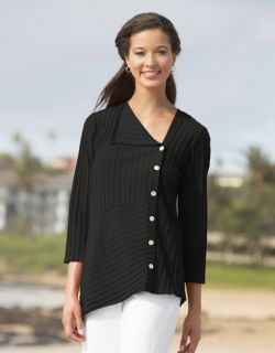 Asymmetrical Rib knit Tee, Black, X Small