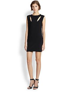 Line & Dot Cutout Dress   Black