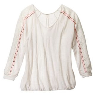 Womens Plus Size Long Sleeve Lace Top   Cream 2