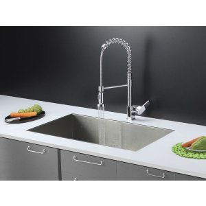 Ruvati RVC1601 Combo Stainless Steel Kitchen Sink and Chrome Faucet Set