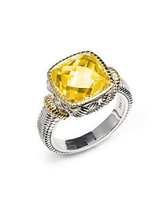 Sterling Silver & 18K Yellow Gold Faceted Ring   Yellow