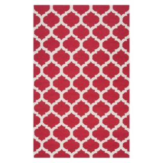 Fretwork Flat Weave Area Rug   Red (8x11)