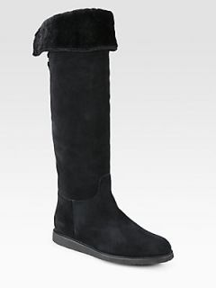 Salvatore Ferragamo My Ease Suede Fur Lined Boots   Black
