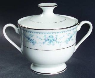 Royal Prestige Danielle Sugar Bowl & Lid, Fine China Dinnerware   Blue & Pink Fl
