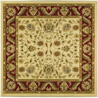Lyndhurst Collection Tabriz Ivory/ Red Rug (6 Square)