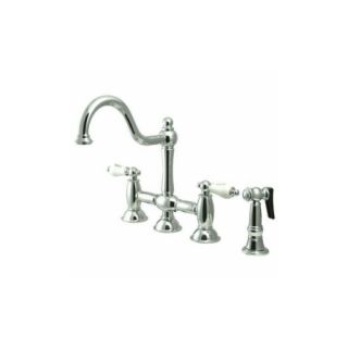 Elements of Design ES3791PLBS Universal Two Handle Kitchen Faucet With Spray