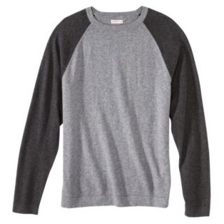 Merona Mens Cotton Cashmere Pullover Sweater   Heather Gray Colorblock S