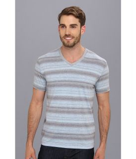 Lucky Brand Baja Striped V Neck Mens T Shirt (Blue)