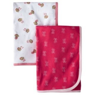 Just One YouMade by Carters Newborn Girls 2 Pack Monkey Blanket Pink/Red
