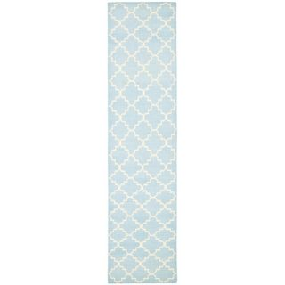 Safavieh Hand woven Moroccan Dhurrie Light Blue/ Ivory Wool Rug (26 X 10)
