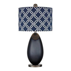 Dimond Lighting DMD D2521 Sevenoakes Navy Blue Glass Table Lamp with Linked Ring
