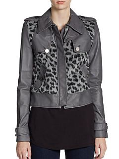 Leopard Print Faux Fur & Leather Cropped Jacket   Agate Combo