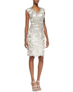 Womens Sleeveless Sequined Lace Overlay Cocktail Dress, Feather/Silver