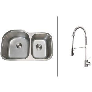 Ruvati RVC2536 Combo Stainless Steel Kitchen Sink and Chrome Faucet Set