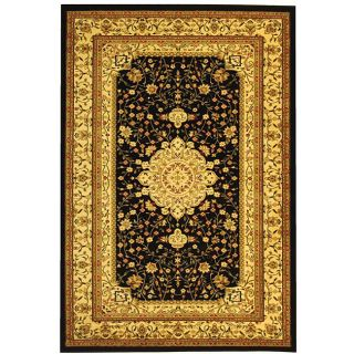 Lyndhurst Collection Mashad Black/ Ivory Rug (6 X 9)