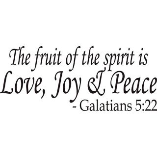 The Fruit Of The Spirit Bible Verse Vinyl Wall Art Quote (MediumSubject OtherMatte Black vinylImage dimensions 11 inches high x 26.5 inches wideThese beautiful vinyl letters have the look of perfectly painted words right on your wall. There isnt a back