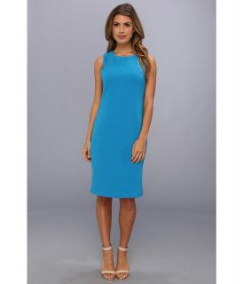 Calvin Klein Ribbed Matte Jersey Dress Womens Dress (Blue)