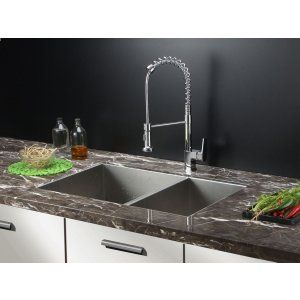 Ruvati RVC1341 Combo Stainless Steel Kitchen Sink and Chrome Faucet Set