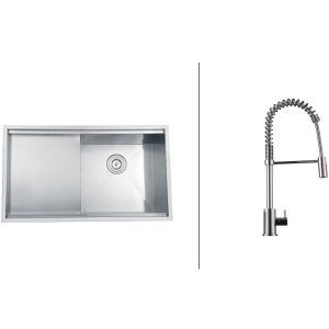Ruvati RVC2361 Combo Stainless Steel Kitchen Sink and Chrome Faucet Set