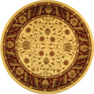 Lyndhurst Collection Tabriz Ivory/ Red Rug (8 Round)