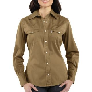 Carhartt Washed Twill Shirt   Snap Front  Long Sleeve (For Women)   DARK KHAKI (XS )