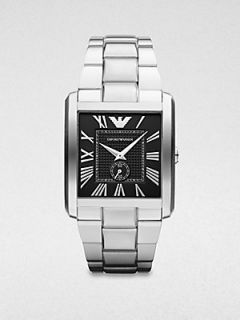 Emporio Armani Rectangular Stainless Steel Watch   Silver