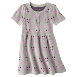Infant Toddler Girls Short Sleeve Knit Fox Dress   Grey 2T