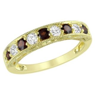 Yellow Plated Silver 4/5ct Garnet and Created White Sapphire Ring