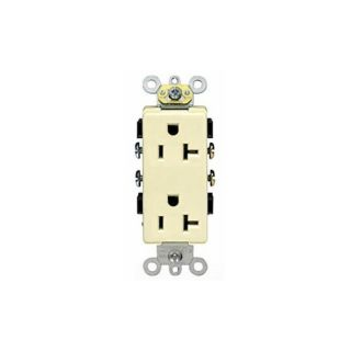 Leviton 16342I Electrical Outlet, Decora Plus Duplex Receptacle 20A, Commercial Grade, Self Grounding Ivory