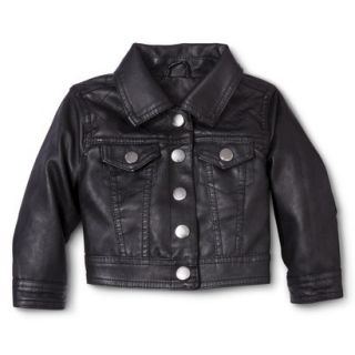 Dollhouse Infant Toddler Girls Faux Leather Jacket   Black 3T