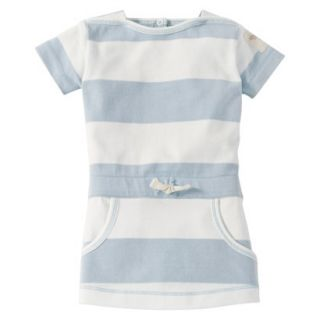 Burts Bees Baby Infant Girls Stripe Boatneck Dress   Fog/Cloud 18 M